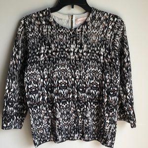 Philosophy black cream brown 3/4 knit top